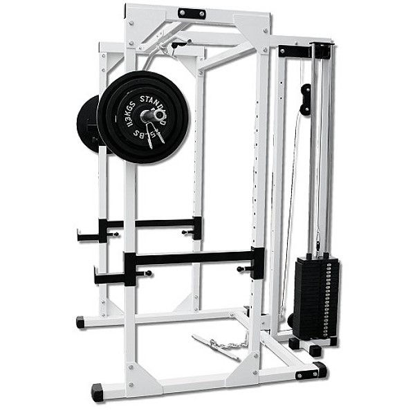 Pro Power Rack With Lat Attachment And 200 Lb Weight Stack