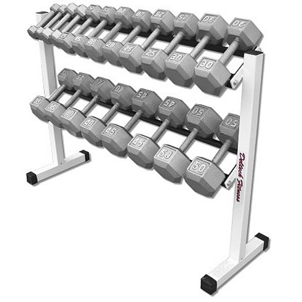 Two Tier Hex Dumbbell Rack With 5 50 Lb Dumbbell Setby