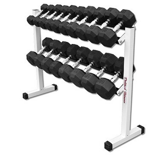 Two Tier Dumbbell Rack With 5 50 Lb Rubber Coated Dumbbell